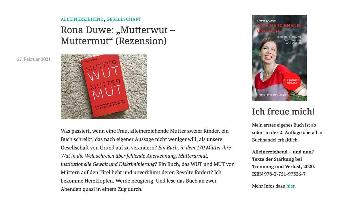 Sarah Zöllner Mutter und Sohn Blog